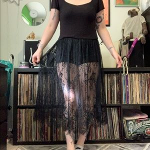 Witchy black lace midi skirt